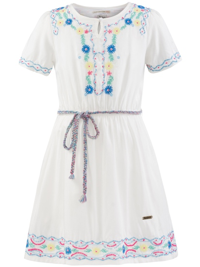 Φόρεμα λευκό με κέντημα και χάντρες (DORIS JR) – Meli Melo eShop c1aa7719608