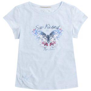 T-shirt σιελ με πεταλούδα και στρασάκια (NEIDA JR) 78027332142