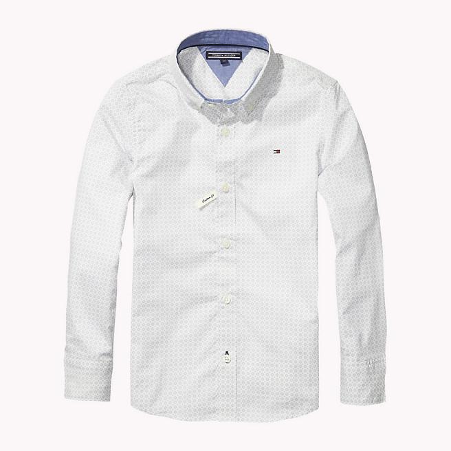 Πουκάμισο ποπλίνα λευκό με γκρι σχέδιο (CIRCLE MINI PATTERN SHIRT L ... dc63b5dc812