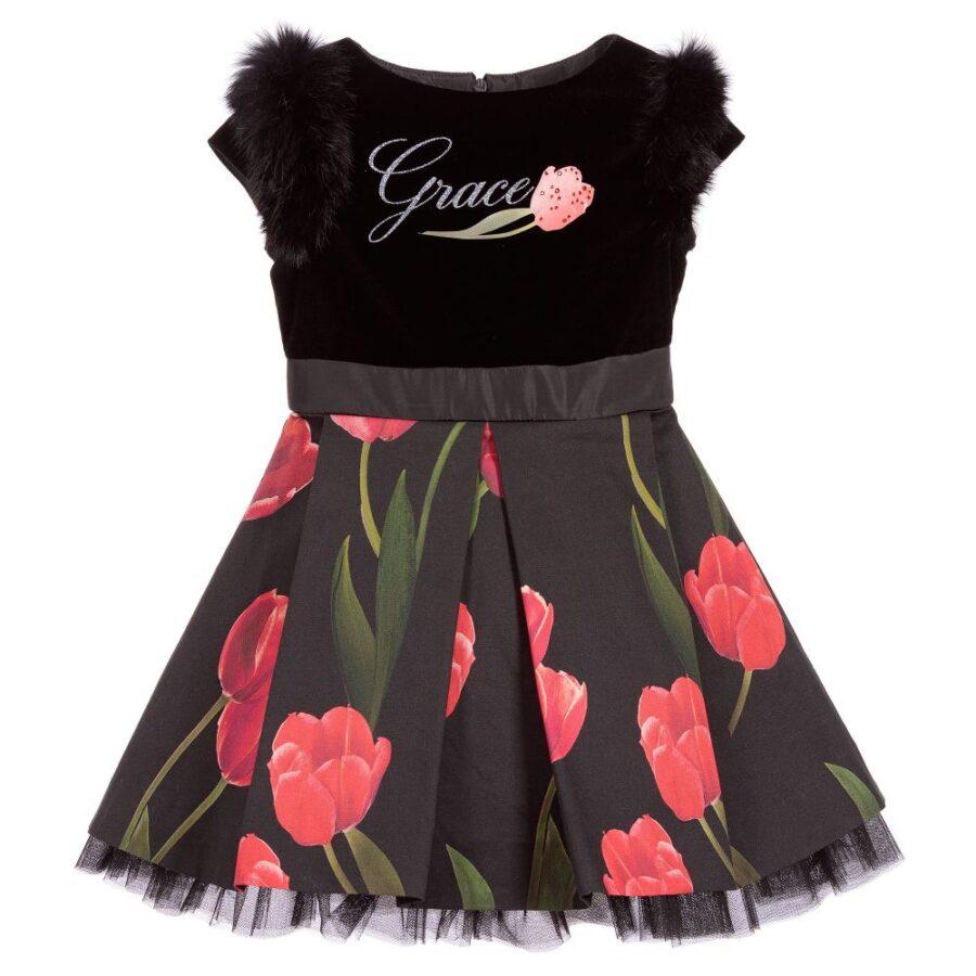 Φόρεμα μαύρο με κόκκινα λουλούδια και λεπτομέρειες από γούνα ... 099eba076c7