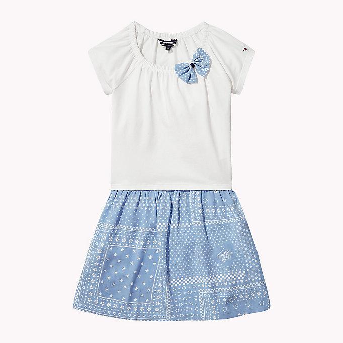 bc2c8785935 Φόρεμα λευκό με εμπριμέ σιελ κάτω μέρος (M SUNNY BANDANA COMBI DRESS S/S)
