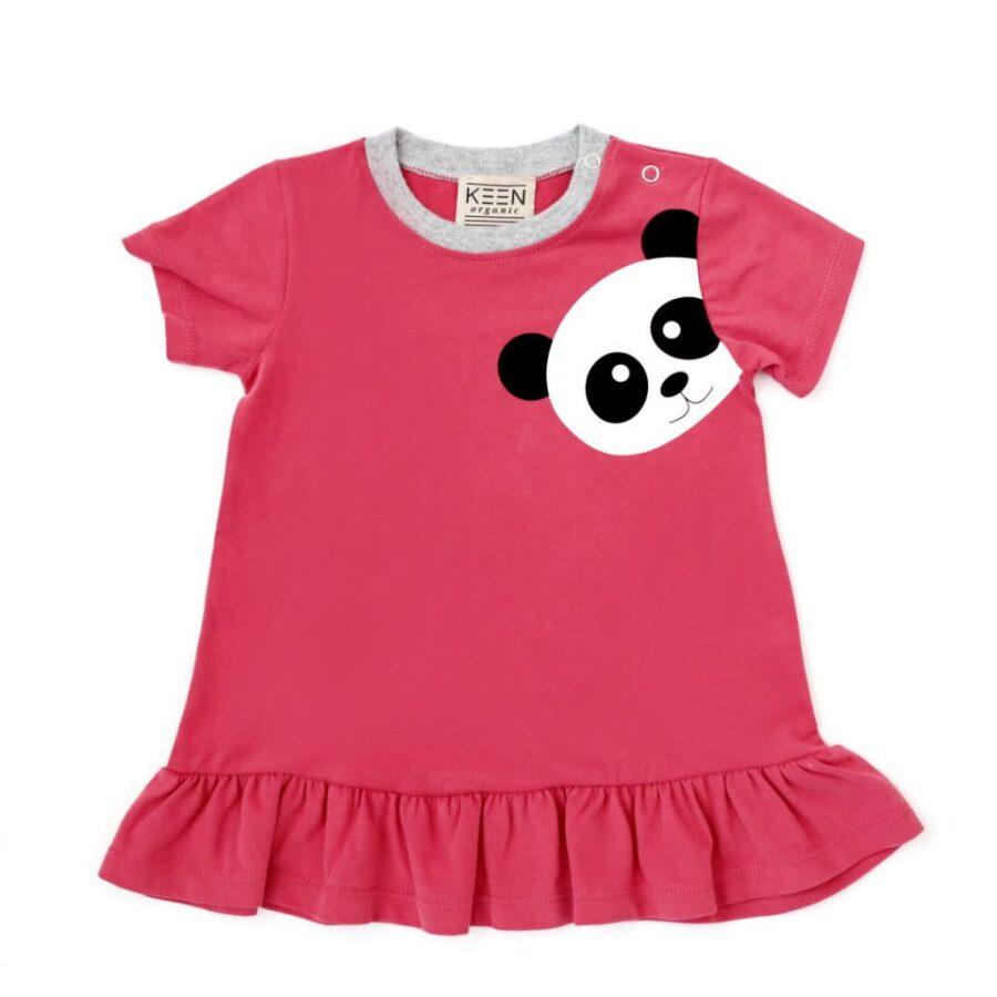 Φόρεμα κόκκινο με σχέδιο πάντα από οργανικό βαμβάκι (Baby dress ... 3592ec17786