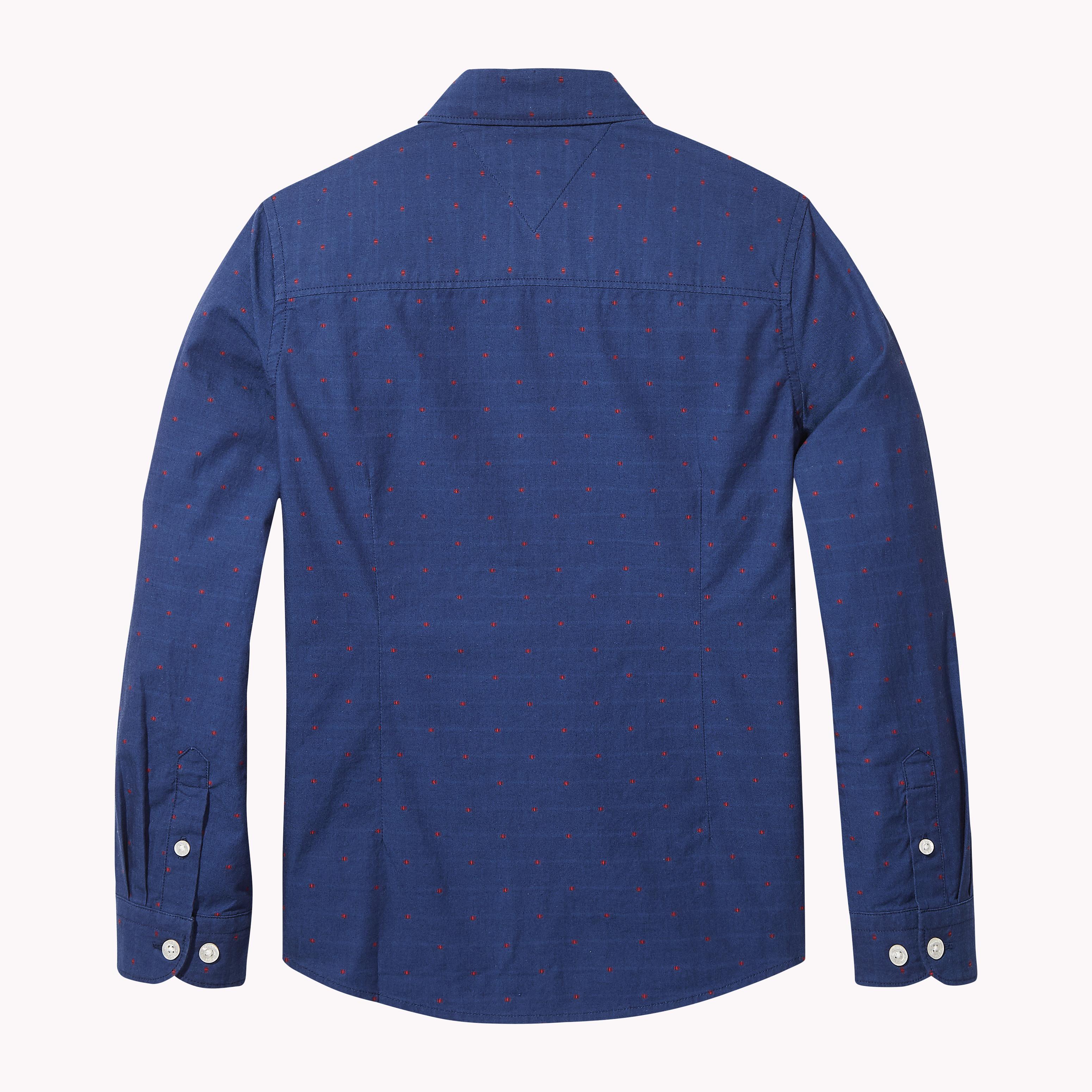 Πουκάμισο βαμβακερό μπλε με κόκκινα σχεδιάκια (DOBBY SHIRT L S ... 7b303a4e4e5