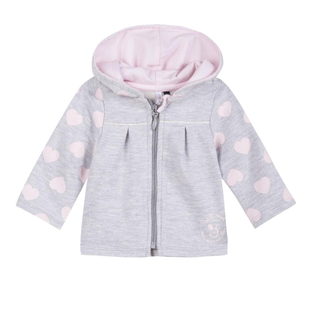 f6de4807b8a Ζακέτα φούτερ βαμβακερή bebe με κουκούλα γκρι με σχέδιο ροζ ...